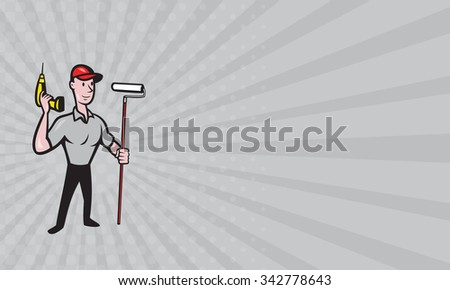 Business card showing illustration of a House painter handyman with paint roller and holding a cordless drill isolated on white done in cartoon style - stock photo