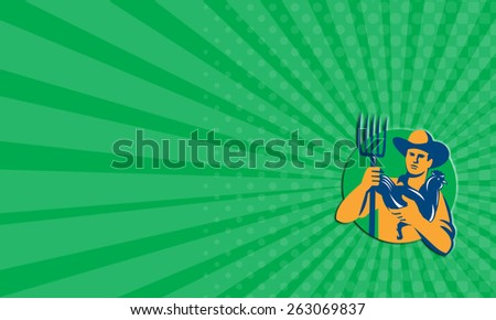 Business card showing illustration of organic farmer with pitchfork holding chicken facing front set inside circle on isolated background done in retro style.  - stock photo