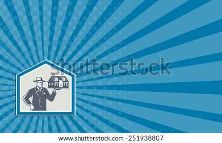 Business card showing illustration of real estate salesman sales agent wearing hat holding a house on his hand set inside shiled on isolated background done in retro style. - stock photo