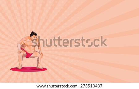 Business card showing Low polygon illustration of a Japanese sumo wrestler in squat position squatting facing front set on isolated white background.  - stock photo