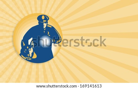 Business card template showing illustration of a security guard policeman with police guard dog and flashlight facing front set inside circle done in retro style. - stock photo