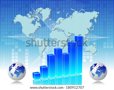 Business card with chart and map of world in background - stock photo