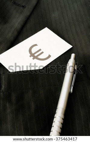 Business card with the sign EURO  - stock photo
