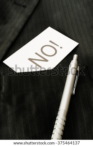 Business card with the sign NO!  - stock photo