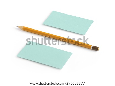 Business cards blank mockup template with a pencil on isolated background - stock photo
