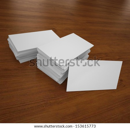 business cards on wooden desk - stock photo