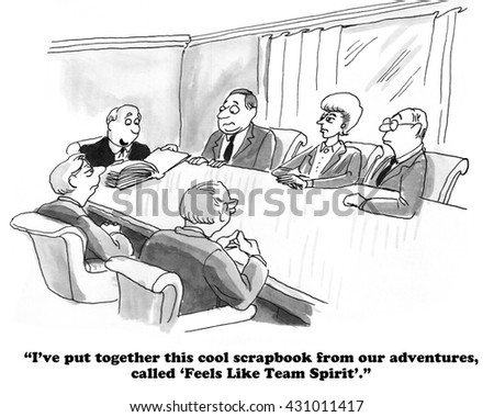 Business cartoon about a team scrapbook. - stock photo