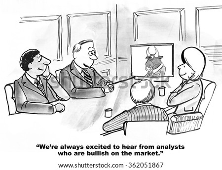 Business cartoon about stock market.  The C-suite is always happy to talk with analysts who are bullish on the market.  - stock photo