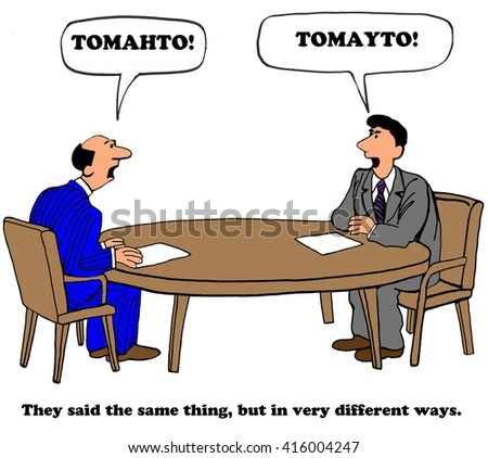Business cartoon about talking past one another and not listening. - stock photo