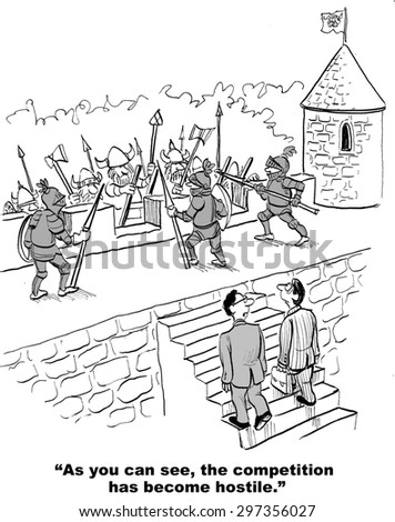 Business cartoon of soldiers fighting as one businessman says to the other, 'as you can see, the competition has become hostile'. - stock photo