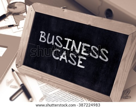 Business Case Handwritten by White Chalk on a Blackboard. Composition with Small Chalkboard on Background of Working Table with Office Folders, Stationery, Reports. Blurred, Toned Image. 3D Render. - stock photo