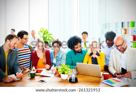 Business Casual People Office Working Discussion Team Concept - stock photo