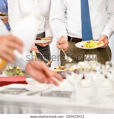 Business catering for company formal celebration close-up - stock photo