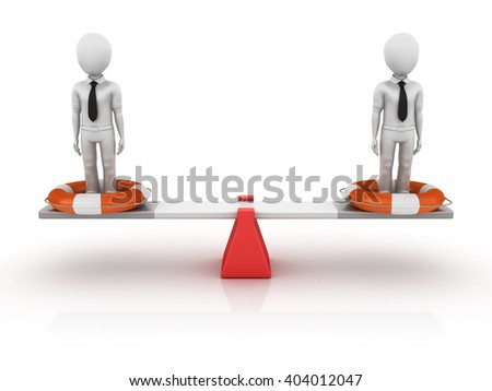 Business Characters with Life Belt Balancing on a Seesaw - Balance Concept - High Quality 3D Render   - stock photo