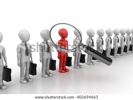 Business Characters with Magnifying Glass - High Quality 3D Render  - stock photo