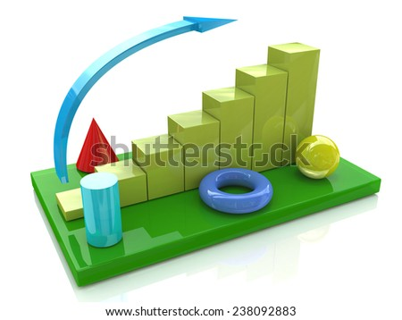 Business chart and geometric objects  - stock photo