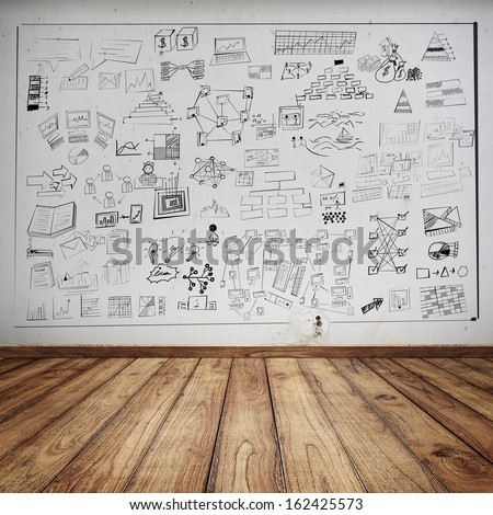 Business chart concept on wall  - stock photo