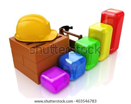 Business chart development of construction industry.3D Illustration - stock photo