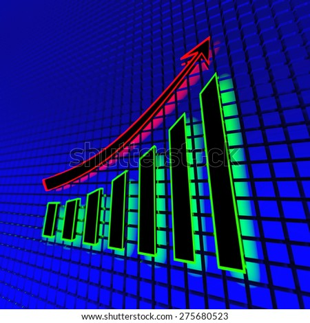 Business chart - neon light. Abstract 3d illustration. - stock photo