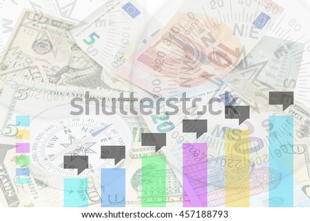 Business chart on banknotes with compass background,Business Finance concept - stock photo