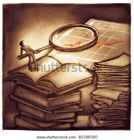 business chart symbolic success metaphor - businessman holding a magnifier, getting more information - stock photo