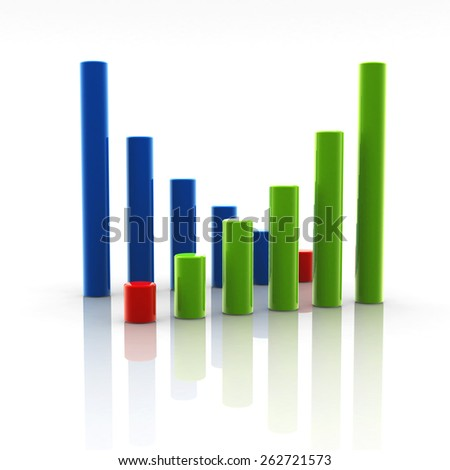 Business chart up and down - stock photo