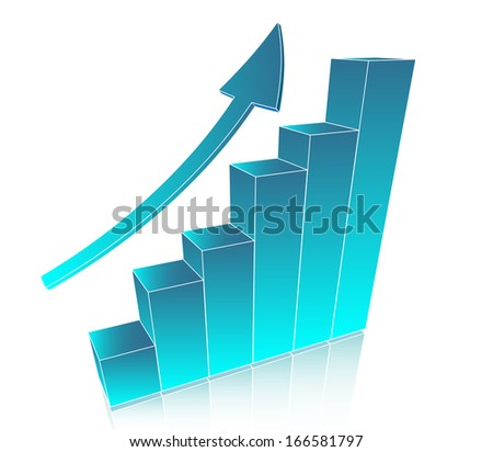 Business chart with arrow - stock photo