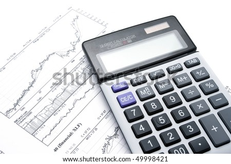 Business charts and calculator isolated on white - stock photo