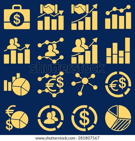 Business charts and reports icons. These flat symbols yellow color. Images are isolated on a blue background. - stock photo