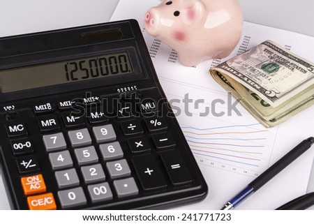 Business Charts with calculator, dollars money, piggy box or money box and pen on white background - stock photo