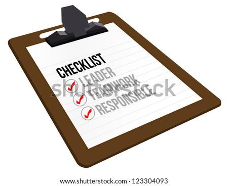 business checklist clipboard illustration design over white - stock photo