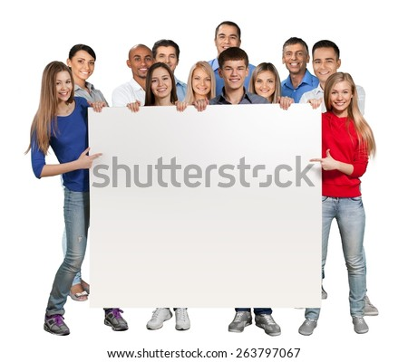 Business. Cheering Businesspeople Holding a Blank Placard - Isolated - stock photo