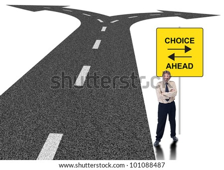 Business choice concept with forking road and sign - stock photo