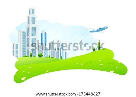 Business City with Aircraft and Green Grass - stock photo