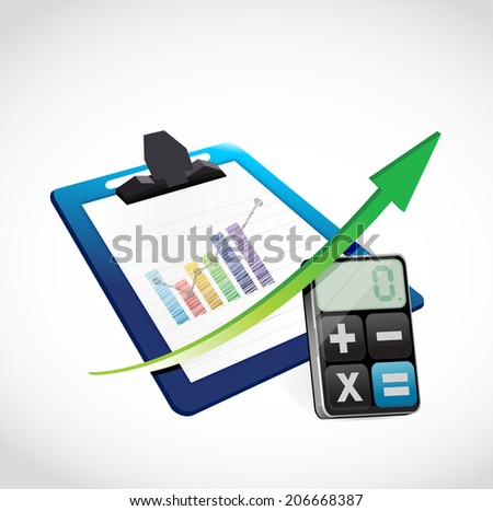 business clipboard and calculator illustration design over a white background - stock photo