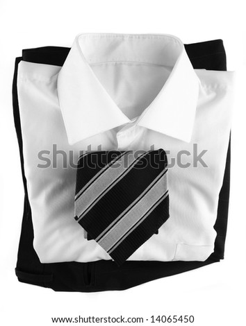 Business clothing. Tie, shirt and pants. Isolated on white background - stock photo