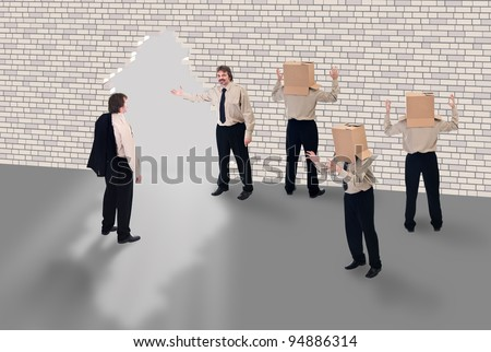 Business coaching - business school concept with enlightened businessman - stock photo