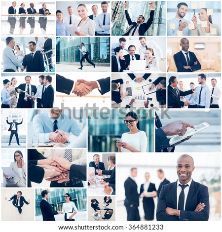 Business collage. Collage of diverse multi-ethnic business people in different business situations - stock photo