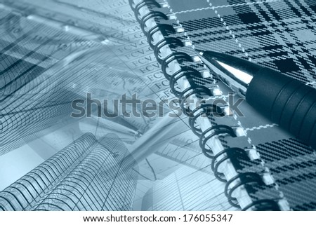 Business collage in blues with pen, notepad and table. - stock photo