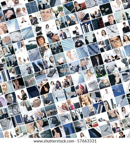 Business collage made of 225 business pictures - stock photo