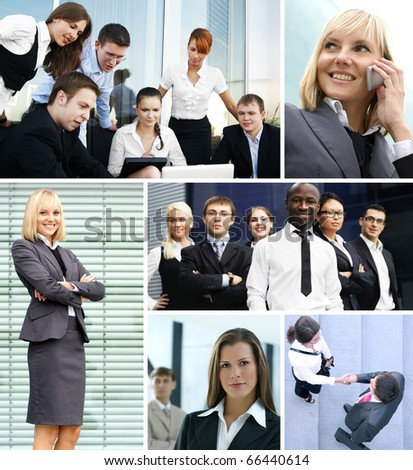 Business collage made of many different pictures about finances, time, money, real estate and corporative relations - stock photo
