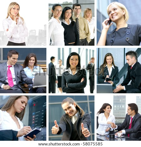 Business collage made of nine business pictures - stock photo