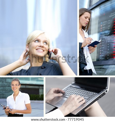 Business collage made of some bright pictures - stock photo