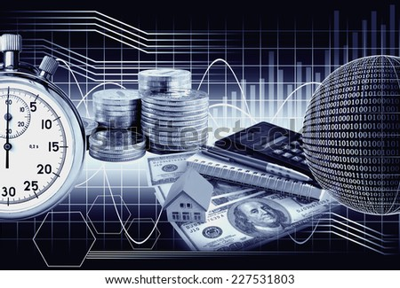 Business collage money and stopwatch on the background chart. The monochrome image in blue tones - stock photo