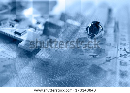 Business collage with pen, ruler and graph, in blues. - stock photo