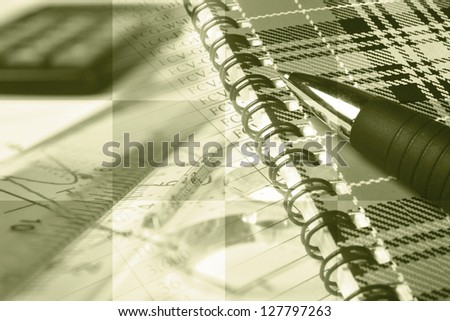 Business collage with pen, ruler and graph, sepia toned. - stock photo