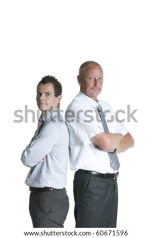 business colleges standing back to back on white background - stock photo