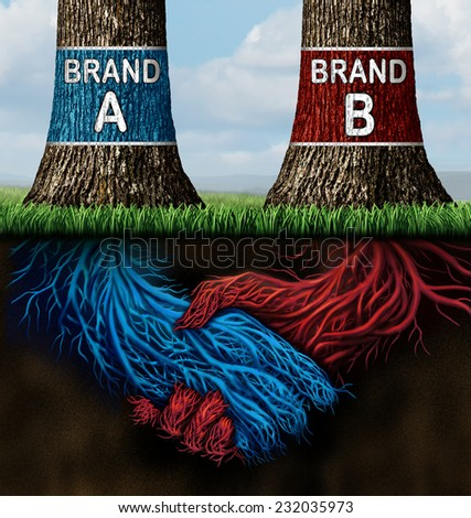 Business collusion concept as two trees representing companies with different market brands coming together secretively in a handshake as underground roots as a metaphor for market deception. - stock photo