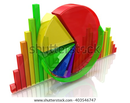 business colorful charts.3D Illustration - stock photo