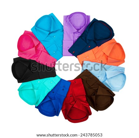 Business colorful shirts lined circle on isolated white background - stock photo
